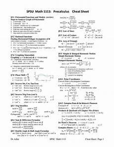 precalculus formulas cheat sheet spsu math 1113 precalculus cheat sheet pdf pdf higher ed resources pinterest cheat