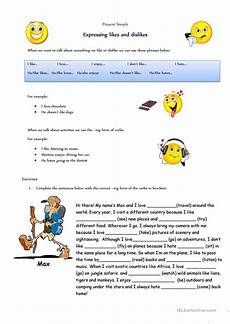 expressing likes and dislikes worksheet free esl printable worksheets made by teachers
