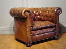 sold antique brown leather chesterfield armchair antique