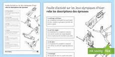 sports and entertainment worksheets 15790 free winter olympics events picture matching worksheet worksheet