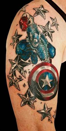 captain america shield with silver and blue stars for the shoulder upper sleeve entertainmentmesh