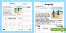 budgeting worksheets year 5 budgeting for a summer holiday money worksheet worksheet
