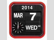 Red Retro Square Calender Flip Clock   Design Wall Clocks