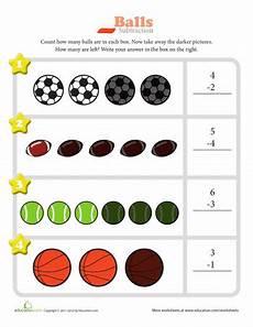 sports balls worksheets 15755 subtraction beginning math worksheets education