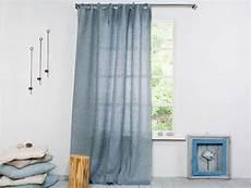 Leinen Vorhang Gardine Leinen Vorhang Grau Blau Mit