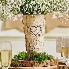 personalised rustic birch wood vase by letteroom notonthehighstreet com