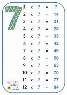table de 7 7 times table poster