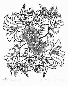Mandala Blumen - color a flower bouquet mandala worksheet education