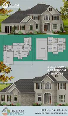 5 bedroom house plans with wrap around porch dream house plans best traditional 5 bedroom 3129 sq ft