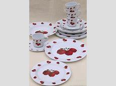new melmac dinnerware w/ fall apples, red apple print