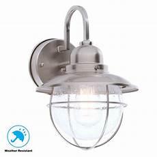 hton bay 1 light brushed nickel outdoor cottage lantern boa1691h bn the home depot
