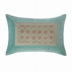 coussin en coton bleu turquoise 40 x 60 cm venasque