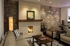 stone wall tile living room contemporary with accent wall