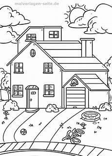 Ausmalbilder Haus Mit Baum Malvorlage Haus Mit Garten In 2020 Mit Bildern