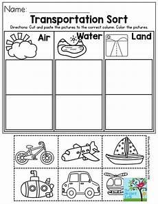 transportation sort air water or land for preschool best of preschool