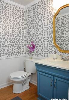 small bathroom wall ideas before after a colorful small gray bathroom with a wall stencil hometalk