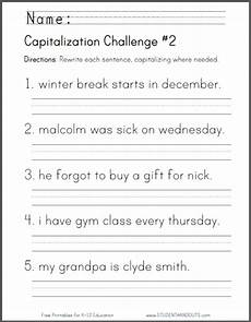 studenthandouts com 01 web pages 2014 04 capitalization challenge 2 worksheet html first grade