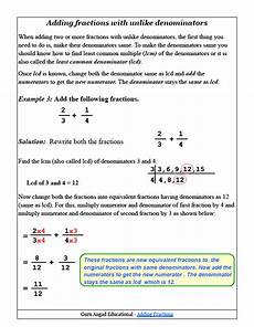 5th grade math worksheet adding fractions with unlike denominators how to add fractions with unlike denominators common