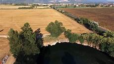 sinkhole lake in guidonia rome italy view by drone video