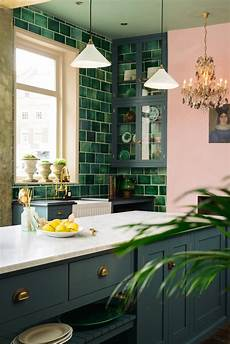 a pink green kitchen honestly