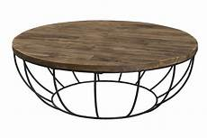 Table Basse Ronde Teck Recycl 233 Structure Filaire 1
