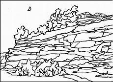 mond ueber einer landschaft ausmalbild malvorlage