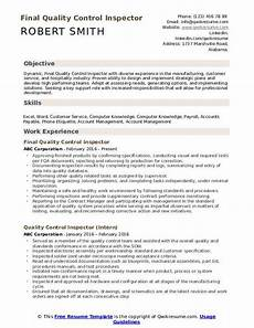 quality control inspector resume sles qwikresume