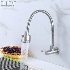kitchen wall faucet wall mounted single cold kitchen faucet kitchen sink tap stainless steel crane els414 in kitchen