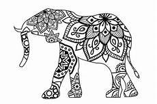 elephant mandala line style svg cut file by creative