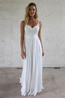 a line spaghetti straps lace top beach wedding dresses angrila