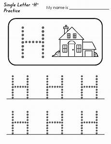 collection of letter h tracing worksheets preschool free