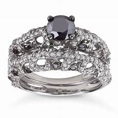shop sterling silver 2ct tdw black and white diamond bridal ring sale free shipping