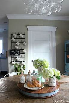 love this farmhouse kitchen with modern bubble glass chandelier farmhouse table and wall