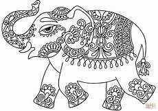 elephant with indian pattern coloring page free