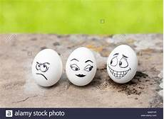 Mischievous Angry And Flirty Faces On Eggs Stock