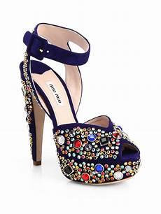Miu Miu Donna Jeweled Suede Platform Sandals In Blue Lyst