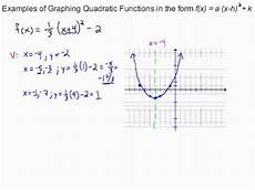 graphing quadratic equations in standard form exles of graphing quadratic functions in standard form youtube