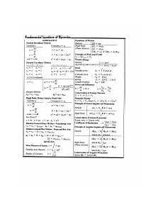 dynamics formula sheet fundamental equations of dynamics kinematics particle rectilinear