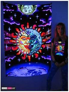 sun moon aum psychedelic art uv black light tapestry wall hanging backdrop deco ebay