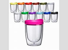 Acrylic Double Wall Insulated Sippy Tumblers Wine Stemless