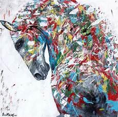 modele de tableau moderne vendu tableau cheval moderne multicolore peinture