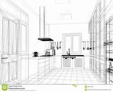 Kitchen Design Drawings by Sketch Design Of Interior Kitchen Stock Illustration
