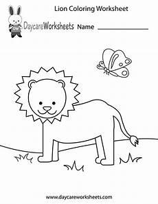 free preschool lion coloring worksheet
