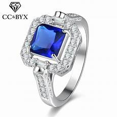 cc top quality rings for wedding engagement blue square stone personality jewelry bridal