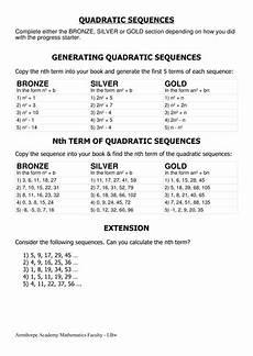 quadratic sequences nth term worksheet quadratic sequences nth term by cherrythunder teaching resources tes