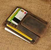 Genuine Leather Money Clip ID Credit Card Case Holder Slim