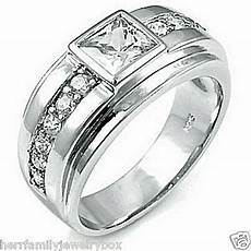 925 sterling silver square diamond cut men s wedding ring wide band size 8 12 ebay