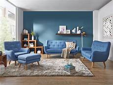 sofa blau skandinavisch retro sofa frenco 3 sitzer blau massivum