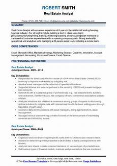real estate analyst resume sles qwikresume