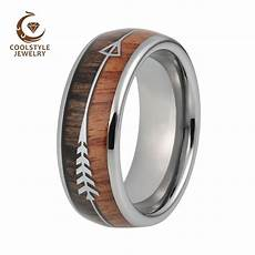 8mm mens tungsten carbide rings womens wedding bands koa arrow inlay domed polished shiny